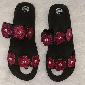 WONDER NATION Black Sandals Pink Glitter Flowers